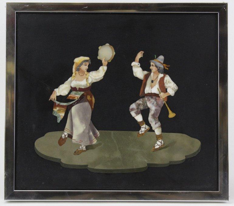 Italian Pietra Dura Stone Dancing Couple Plaque