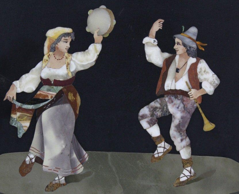 Italian Pietra Dura Stone Dancing Couple Plaque - 2