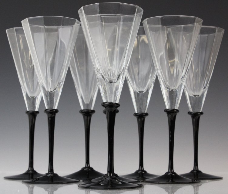 SET 8 CARTIER Deco Style Crystal Champagne Glasses