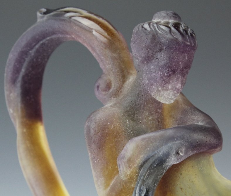 "DAUM Pate de Verre French Art Glass Mythology 12"" Ewer - 5"