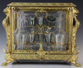 Antique Ornate French Gilt Bronze Tantalus Liquor Set
