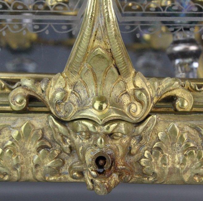 Antique Ornate French Gilt Bronze Tantalus Liquor Set - 2
