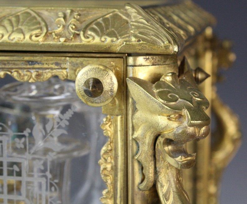 Antique Ornate French Gilt Bronze Tantalus Liquor Set - 3