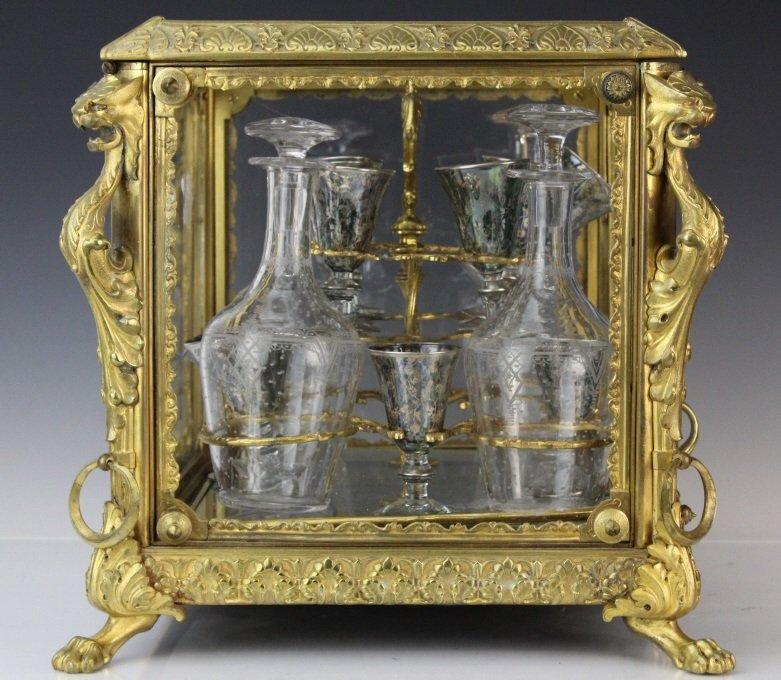 Antique Ornate French Gilt Bronze Tantalus Liquor Set - 5