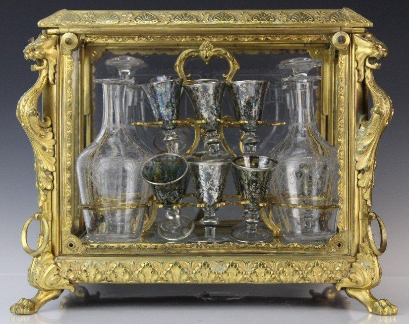 Antique Ornate French Gilt Bronze Tantalus Liquor Set - 6