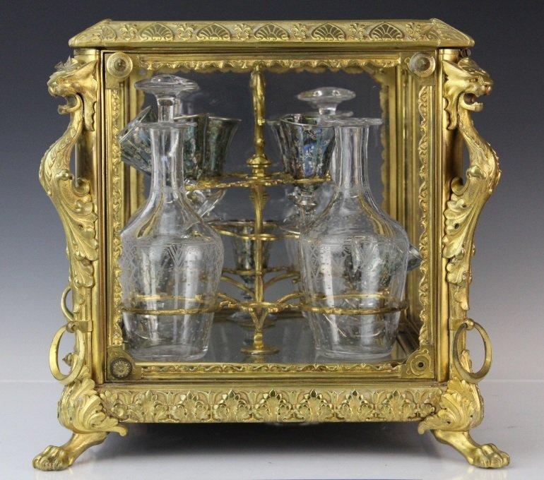 Antique Ornate French Gilt Bronze Tantalus Liquor Set - 7