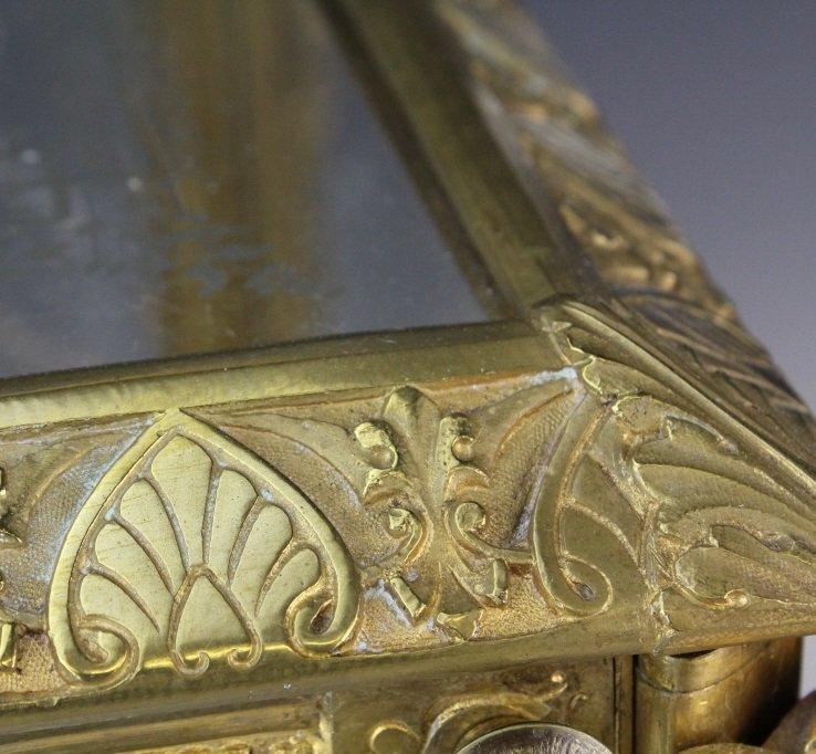 Antique Ornate French Gilt Bronze Tantalus Liquor Set - 8