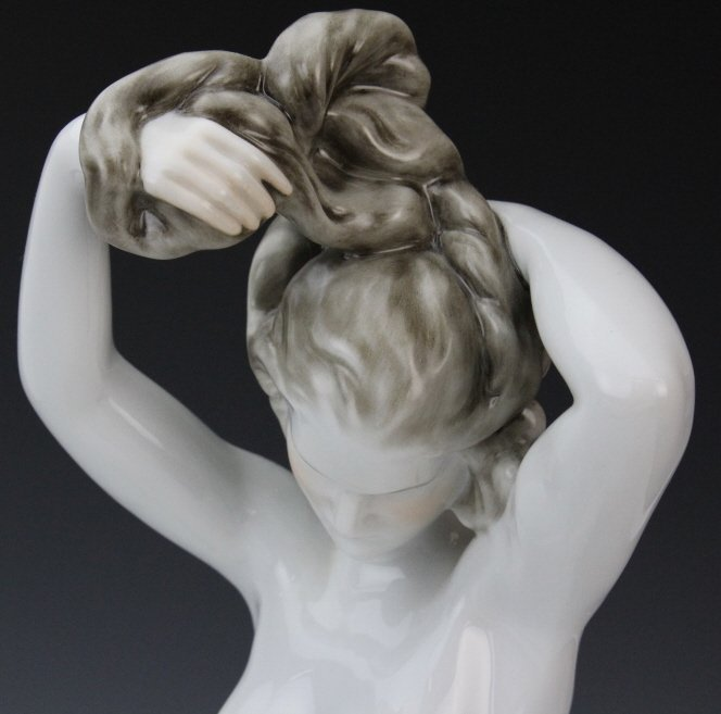 "HEREND 14"" Porcelain Female NUDE Bather Figurine - 2"