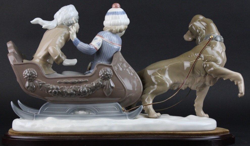 Retired LLADRO Dog Sled Sleigh Porcelain Figurine - 3