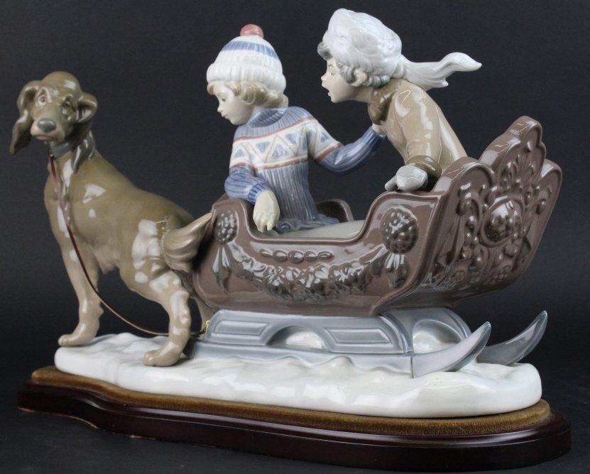 Retired LLADRO Dog Sled Sleigh Porcelain Figurine - 4