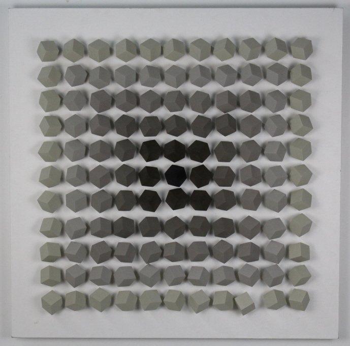 "Cicero Silva Grey Cube Art Modernist 39"" Sculpture"