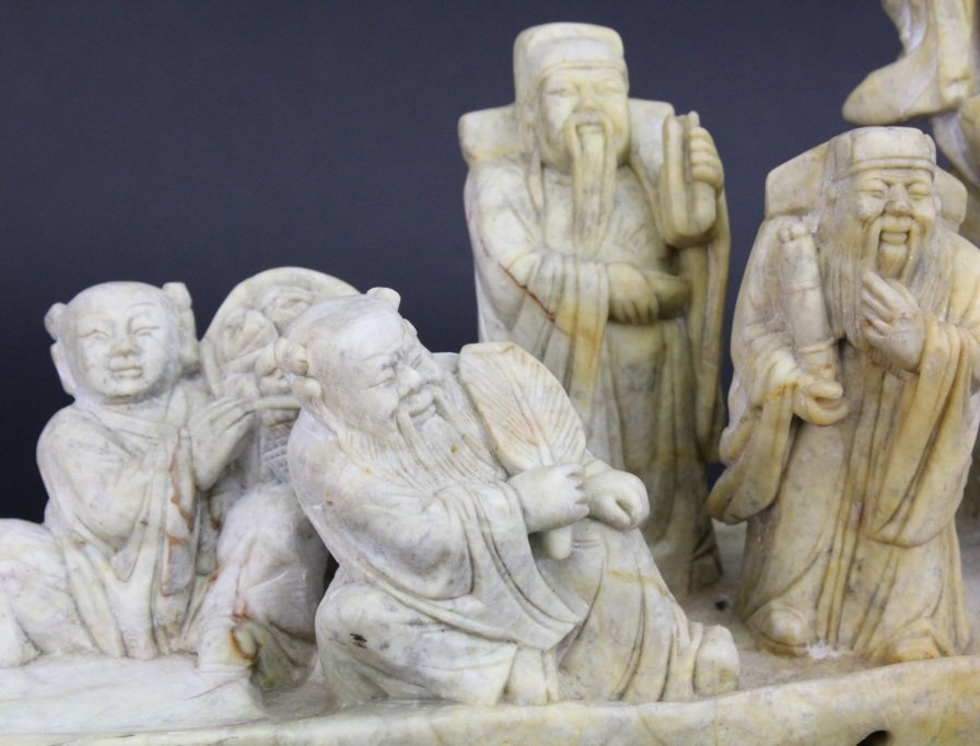 Chinese Carved Stone 8 Immortals Boat Sculpture - 2