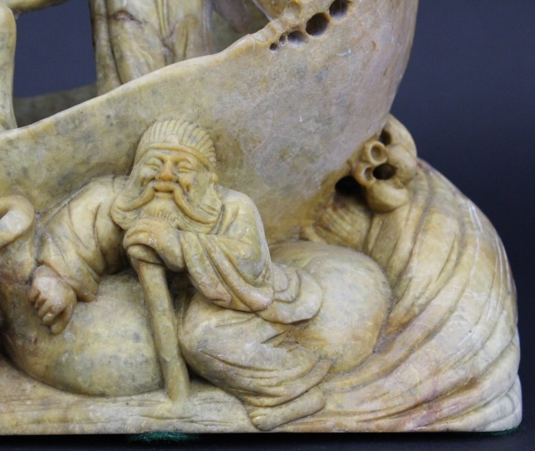 Chinese Carved Stone 8 Immortals Boat Sculpture - 4