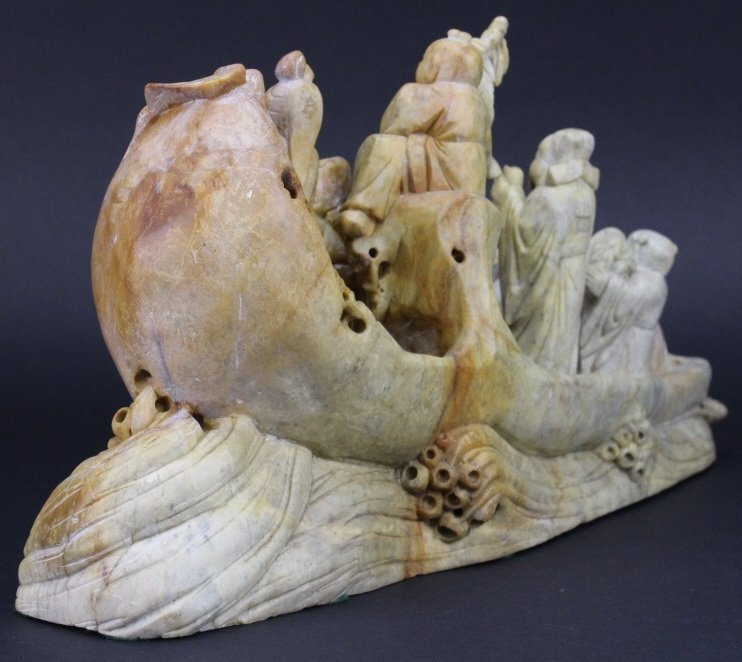 Chinese Carved Stone 8 Immortals Boat Sculpture - 8