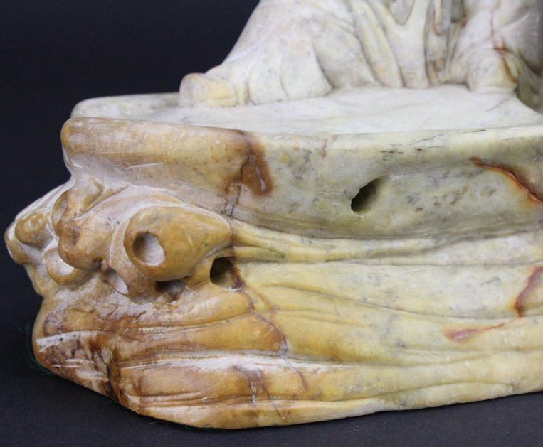 Chinese Carved Stone 8 Immortals Boat Sculpture - 9