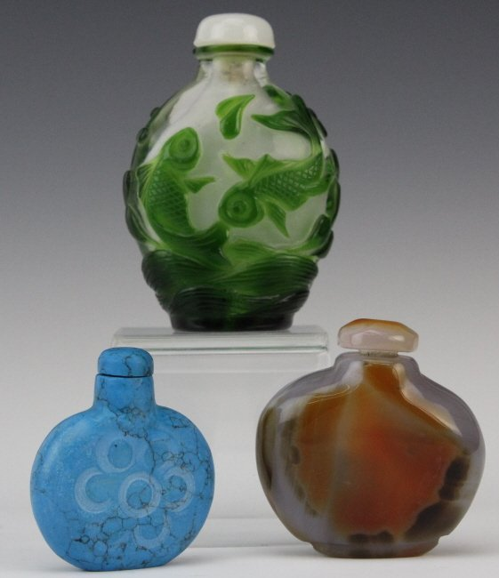 LOT of 3 Chinese Stone & Peking Glass Snuff Bottle