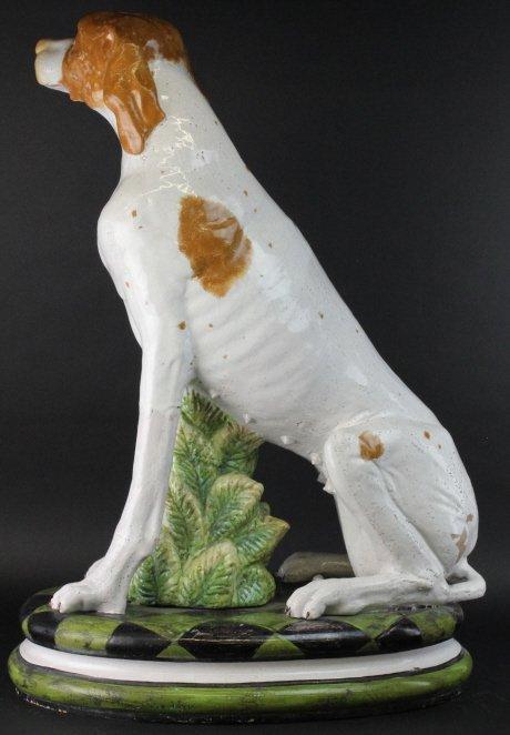 "STUNNING Italian Majolica Pottery 37"" Dog Statue - 8"