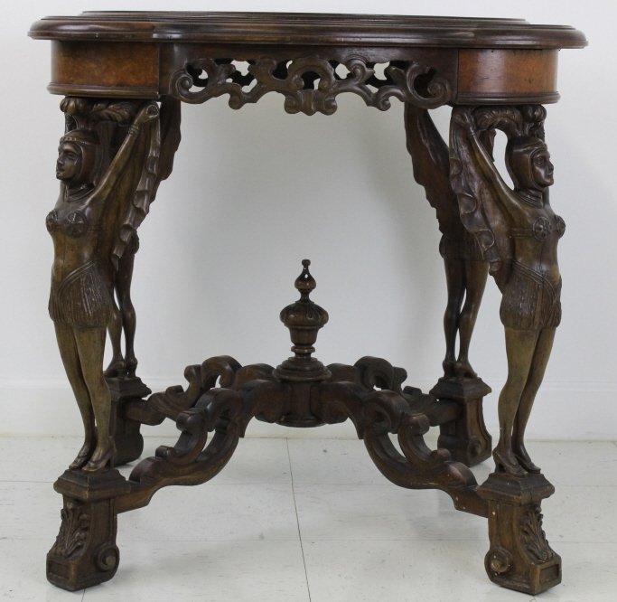 Rare Ziegfeld Follies Era Carved Wood Center Table