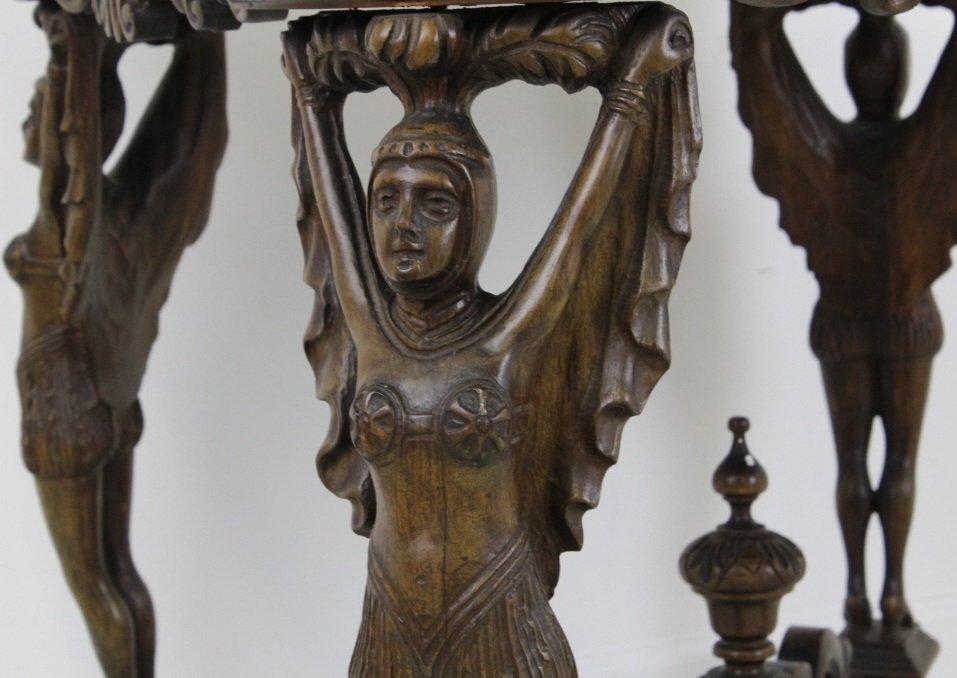 Rare Ziegfeld Follies Era Carved Wood Center Table - 4