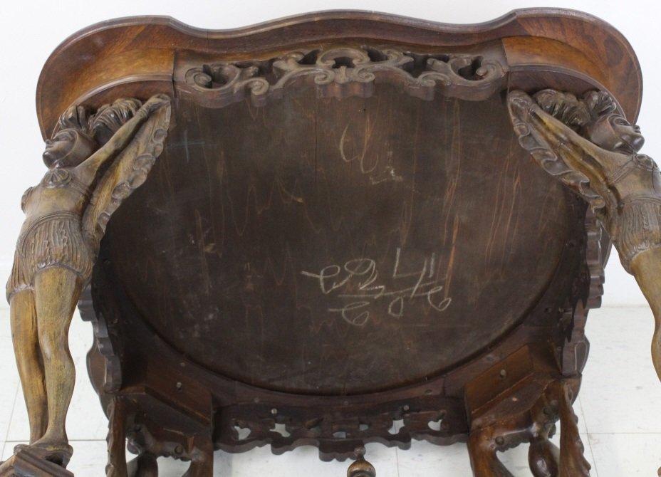 Rare Ziegfeld Follies Era Carved Wood Center Table - 9