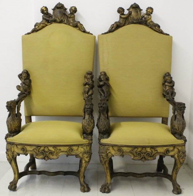 PAIR Antique Italian Carved Gilt Wood Throne Chair