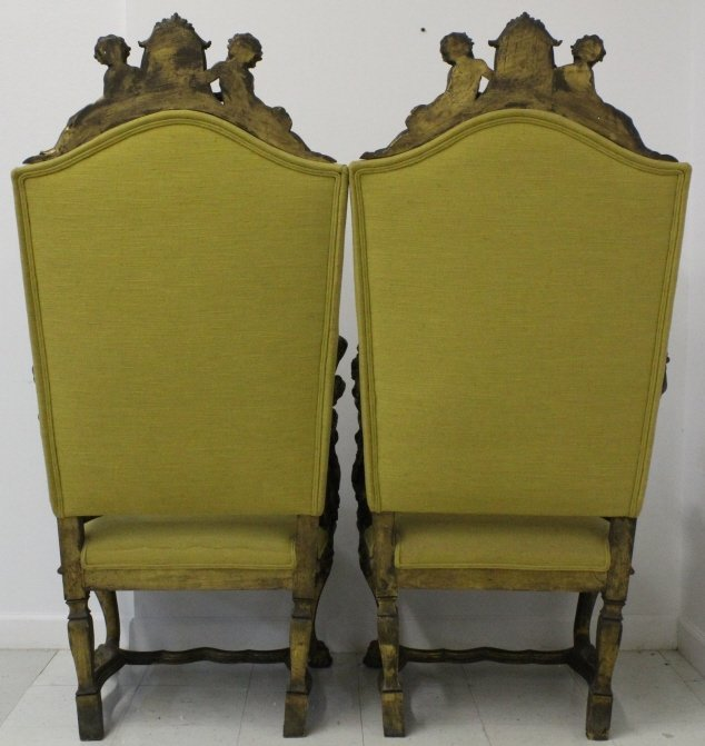 PAIR Antique Italian Carved Gilt Wood Throne Chair - 9