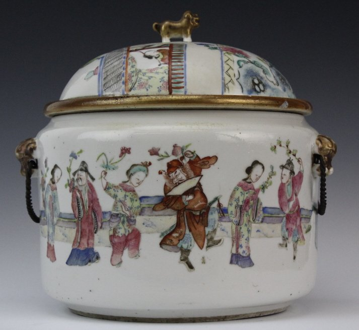 Chinese Porcelain Famille Rose Soup Tureen w Liner