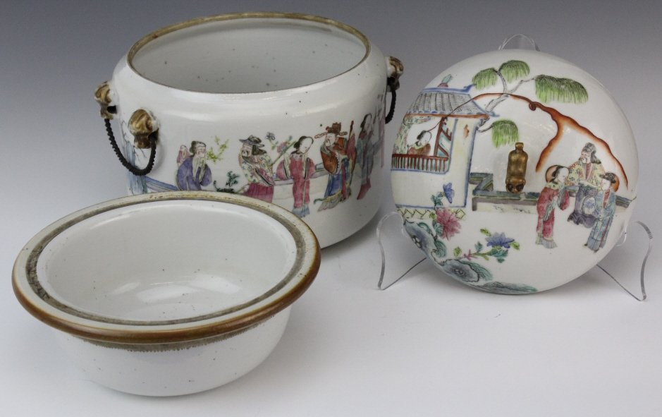 Chinese Porcelain Famille Rose Soup Tureen w Liner - 8