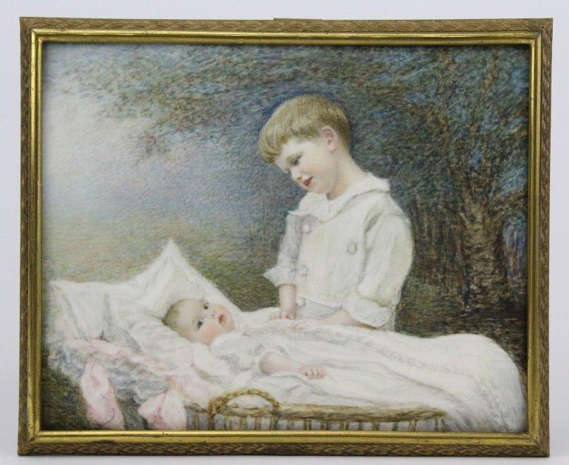 Antique Miniature Impressionist Child Portrait Painting