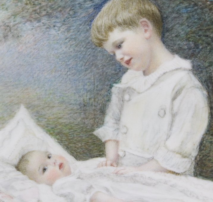 Antique Miniature Impressionist Child Portrait Painting - 2
