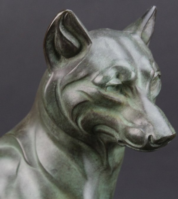 Art Deco Style Bronze Marble Wolf Sculpture - 6