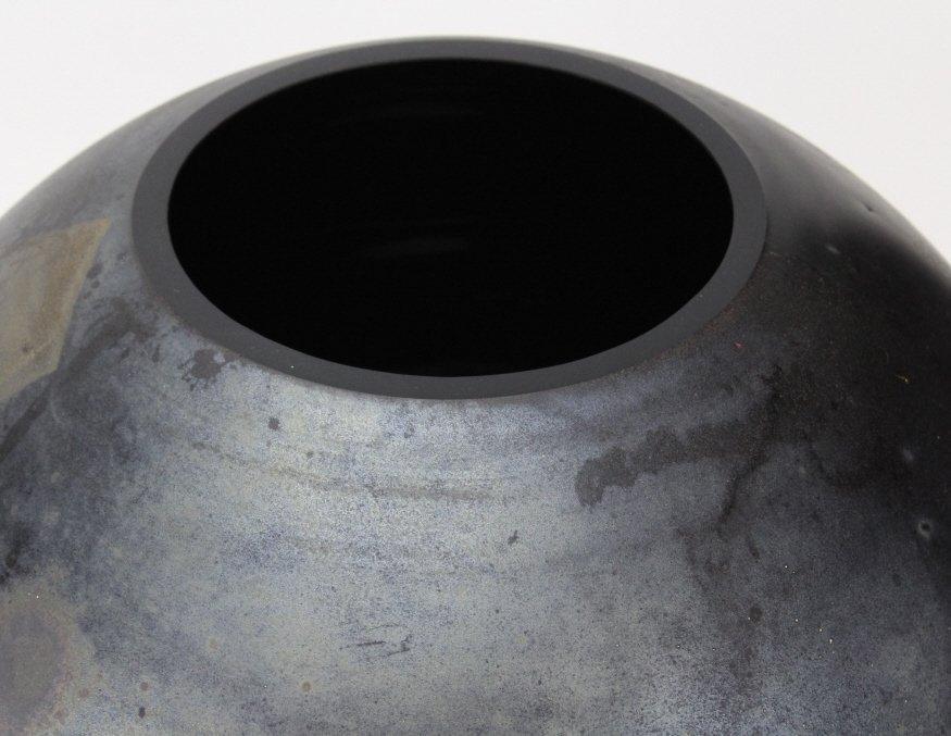 "LARGE Signed CENEDESE Murano 14"" Art Glass Black Vase - 2"