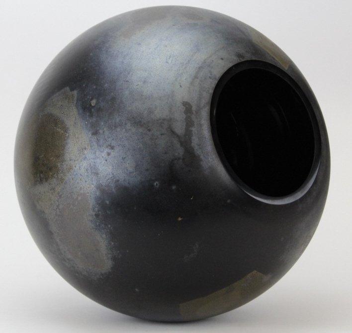 "LARGE Signed CENEDESE Murano 14"" Art Glass Black Vase - 5"