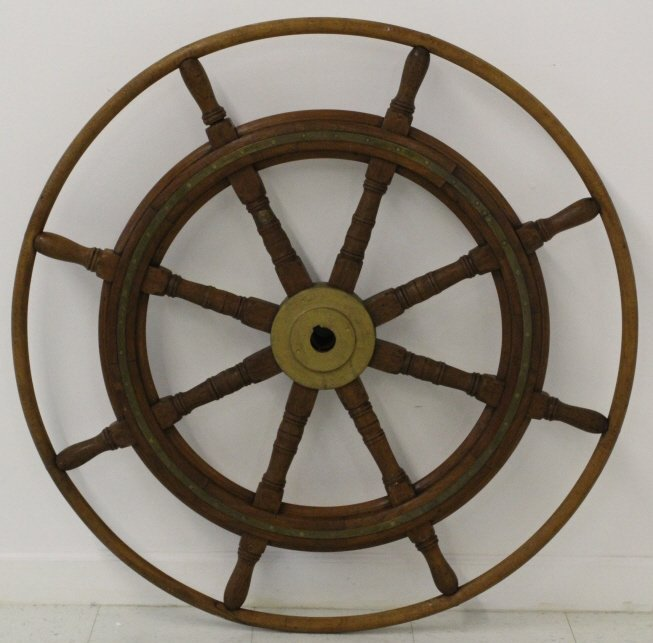 "LARGE Nautical Model Wood Brass 46"" Ship's Boat Wheel"