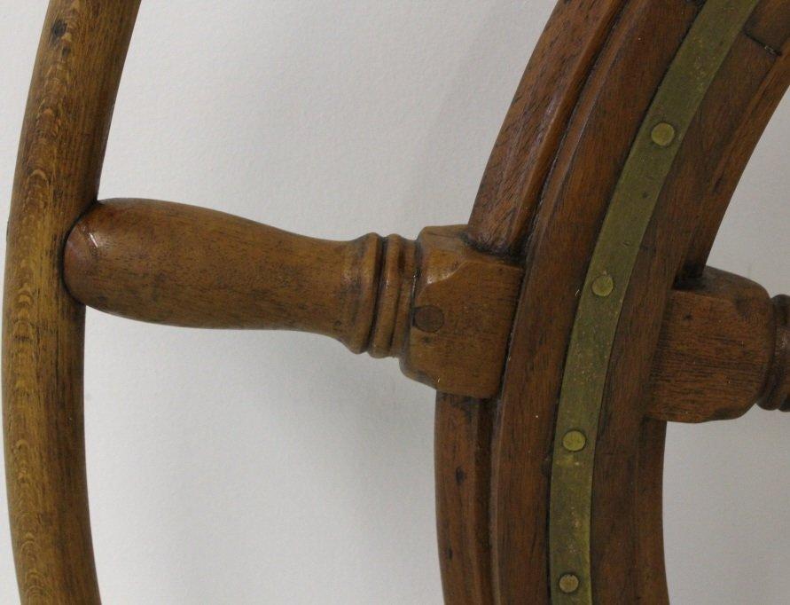 "LARGE Nautical Model Wood Brass 46"" Ship's Boat Wheel - 4"