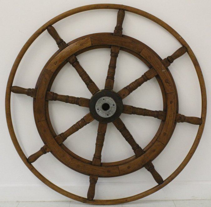 "LARGE Nautical Model Wood Brass 46"" Ship's Boat Wheel - 5"