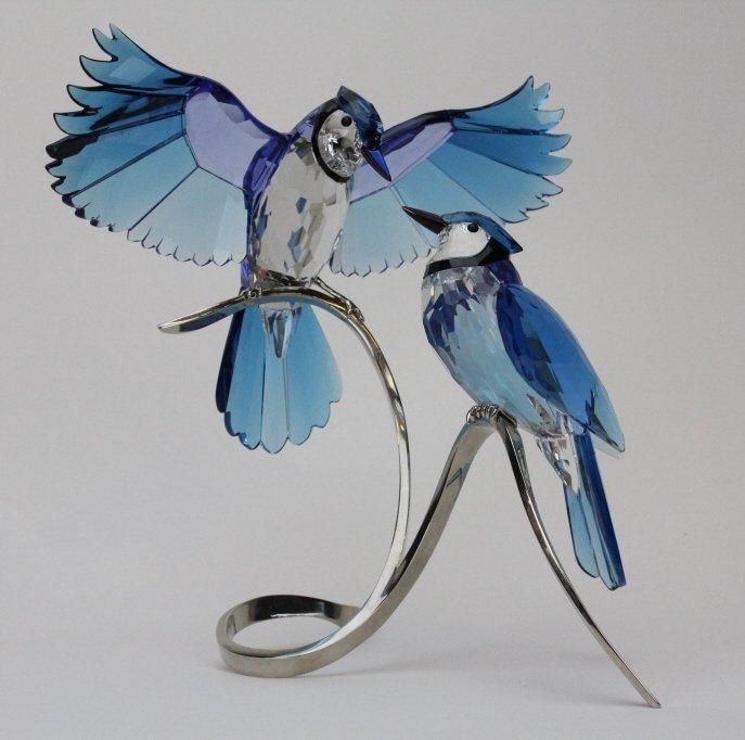 "Swarovski Art Glass Crystal 11"" Blue Jays Figurine 6149"