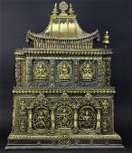 "19th Century Nepalese Jeweled Gilt Bronze 34.5"" Shrine"