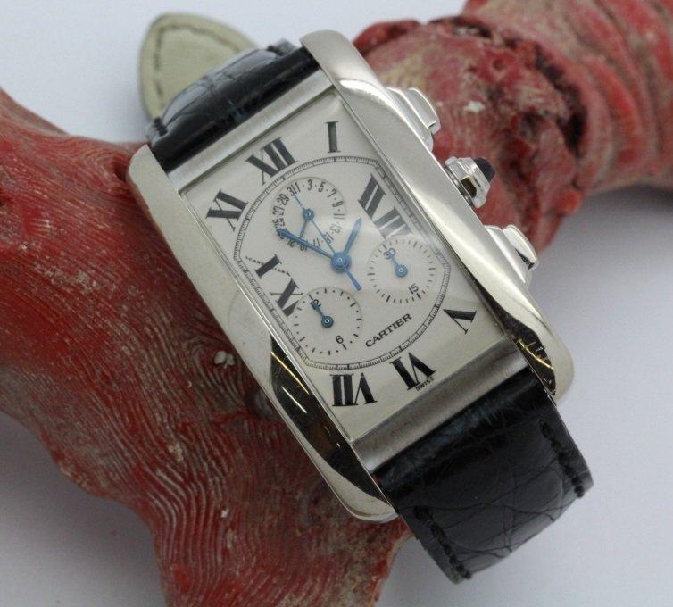 18K White Gold Cartier American Tank Chrono Wrist Watch