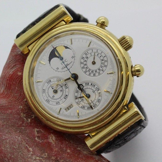 Mens 18K Gold IWC DaVinci Calendar Wrist Watch Ref 3750