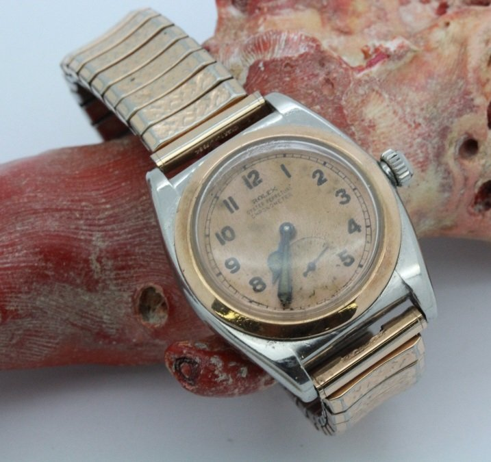 1930's Rolex Two Tone Bubble Back Rose Gold Wrist Watch