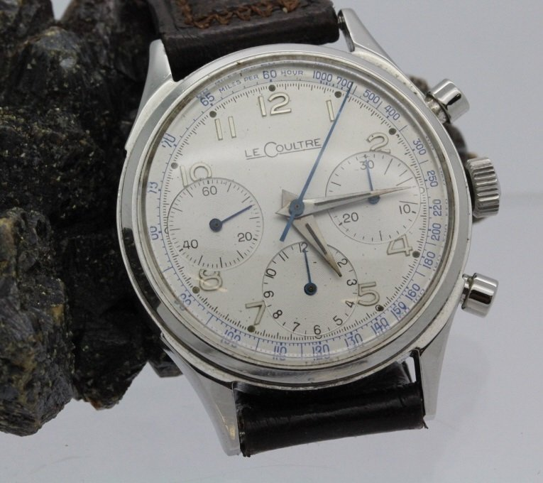 1940's Mens LeCoultre Stainless Steel Chrongraph Watch