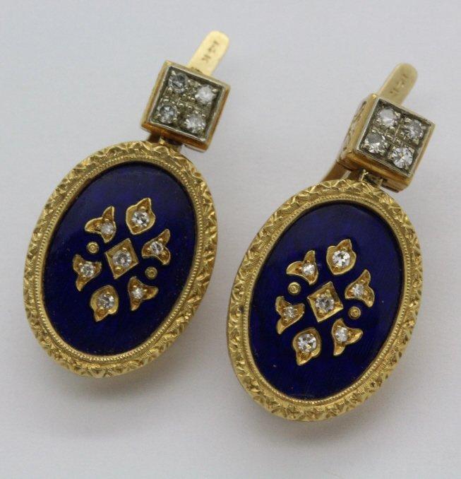 Victorian Revival 14K Gold Diamond Blue Enamel Earrings