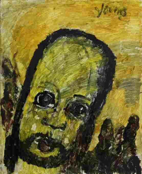 Purvis Young Angel Head Outsider Folk Art Oil Painting