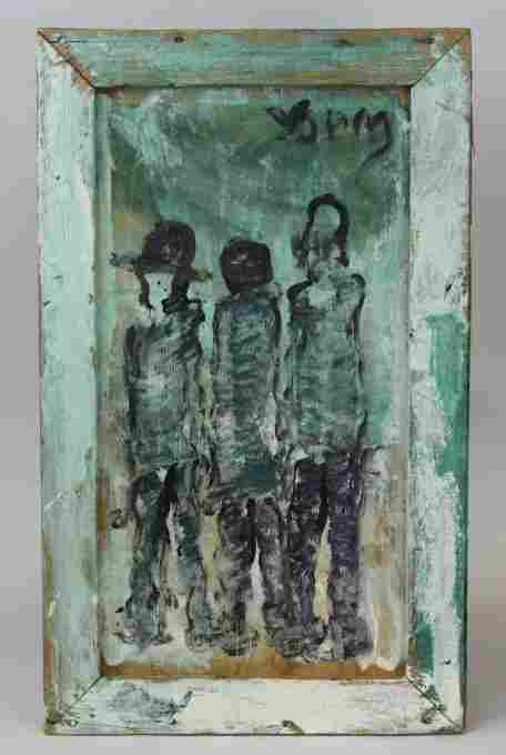 Purvis Young 3 Figures Outsider Folk Art Oil Painting