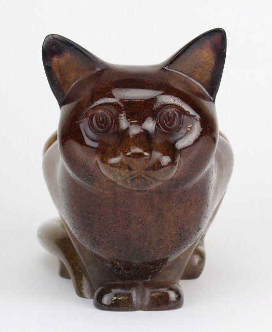 Signed Daum Pate de Verre Kitty Cat Art Glass Sculpture