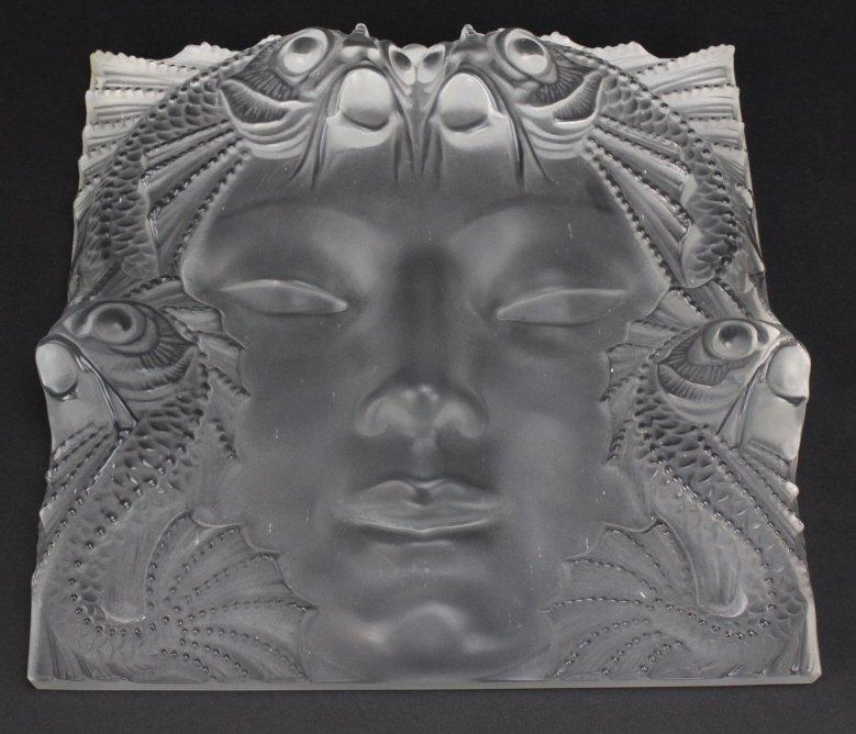 Lalique French Art Glass Masque de Femme 12.5 Sculpture