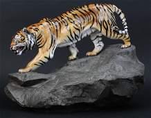 LARGE Royal Doulton Tiger on Rock Porcelain Figurine