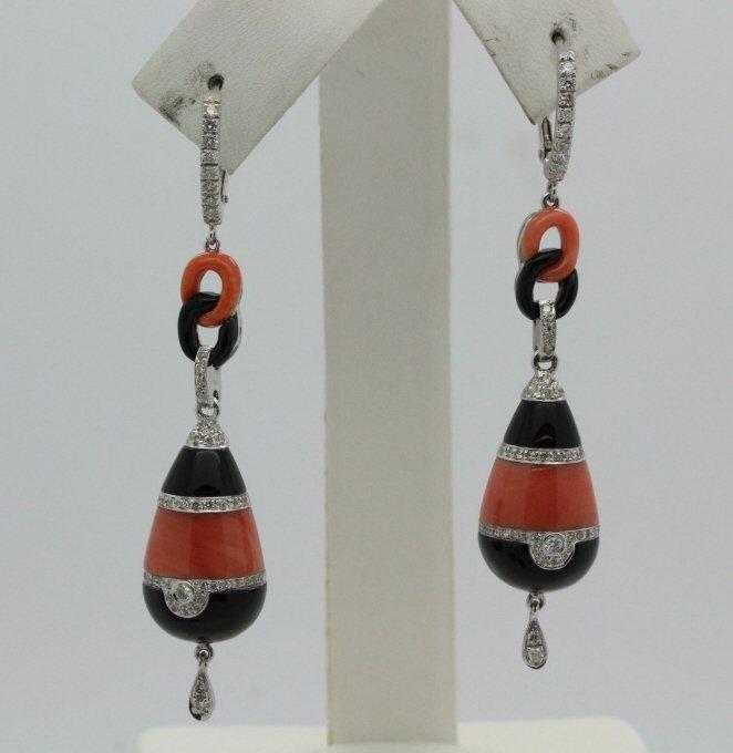 18K Gold Red Coral & Black Onyx Diamond Drop Earrings