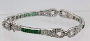 "Art Deco Style 18k 3 Ct TW Diamond Emerald 7"" Bracelet"